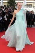 Robe de star Diane Kruger une épaule voile ruchée en mousseline de soie