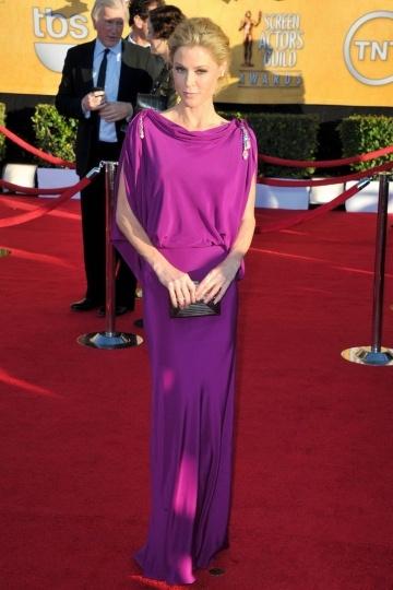 Robe de star Julie Bowen drapé élégant dos ouvert en mousseline satinée