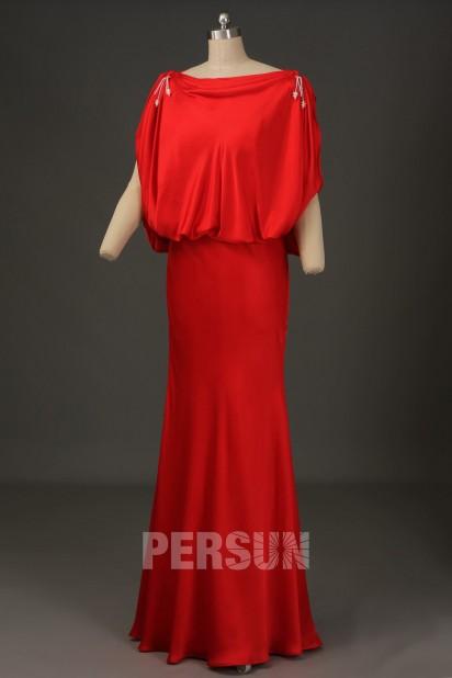 Robe de star Julie Bowen col drapé dos ouvert en mousseline de soie