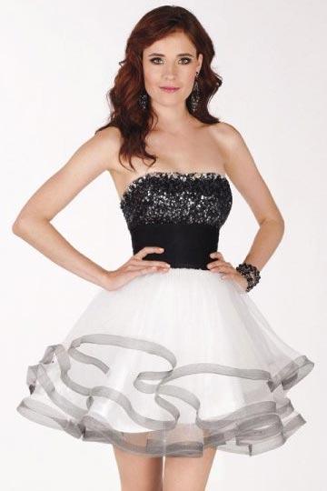 7e4606d68 Robe de bal courte bicolore bustier sequins noir brillant jupe organza  blanche - Persun.fr