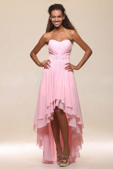 Robe rose empire bustier ruchée ornée de strass
