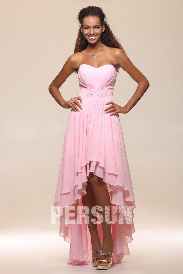 robe de cocktail courte devant longue derrière rose bustier coeur taille embelli de strass