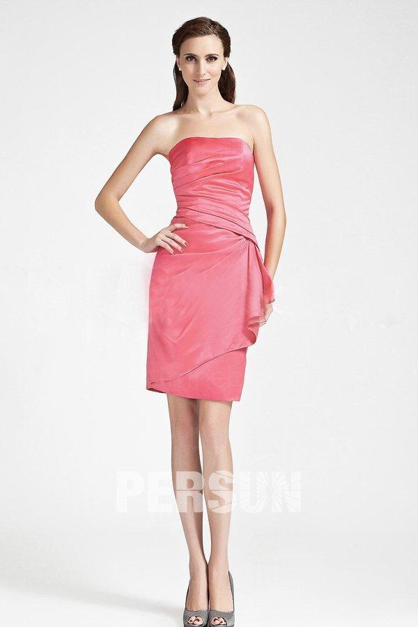 Robe rose chic bustier enveloppe ruchée à volants