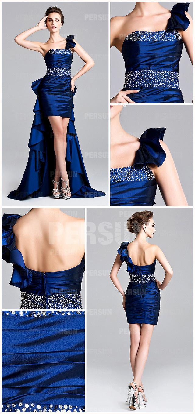 robe de soirée bleu courte devant longue derrière asymétrique orné de paillettes