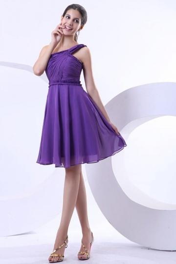 Robe violette de cocktail ruchée ligne-A en mousseline