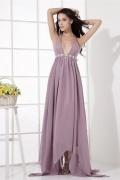 Sexy Robe de cocktail violette col en V profond ornée de bijoux