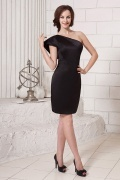 Sheath One Shoulder Satin Short Black Cocktail Dress