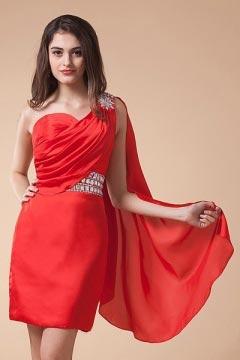 Robe exotique de cocktail rouge strass drapé à seule épaule
