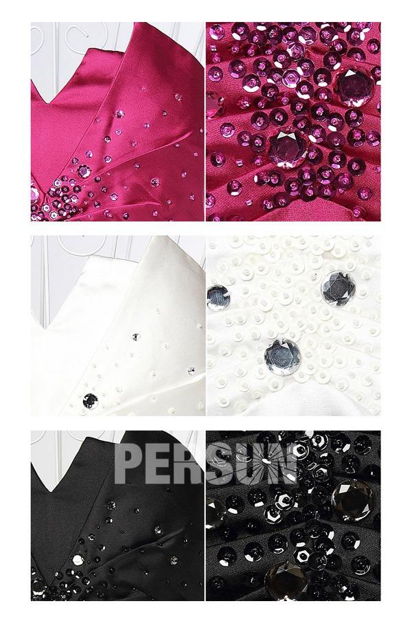 Mini robe fourreau bustier à petit col v décorée de bijoux