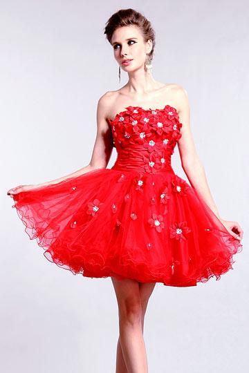 Robe de bal courte empire ornée de fleur plusieurs couleurs