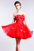 Short Color block Royal Sheath Strapless Empire Sweet 16 dress