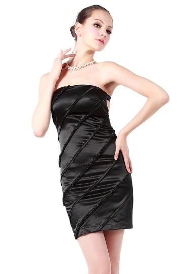 Robe courte cocktail bustier satin soyeux noire à dos nu