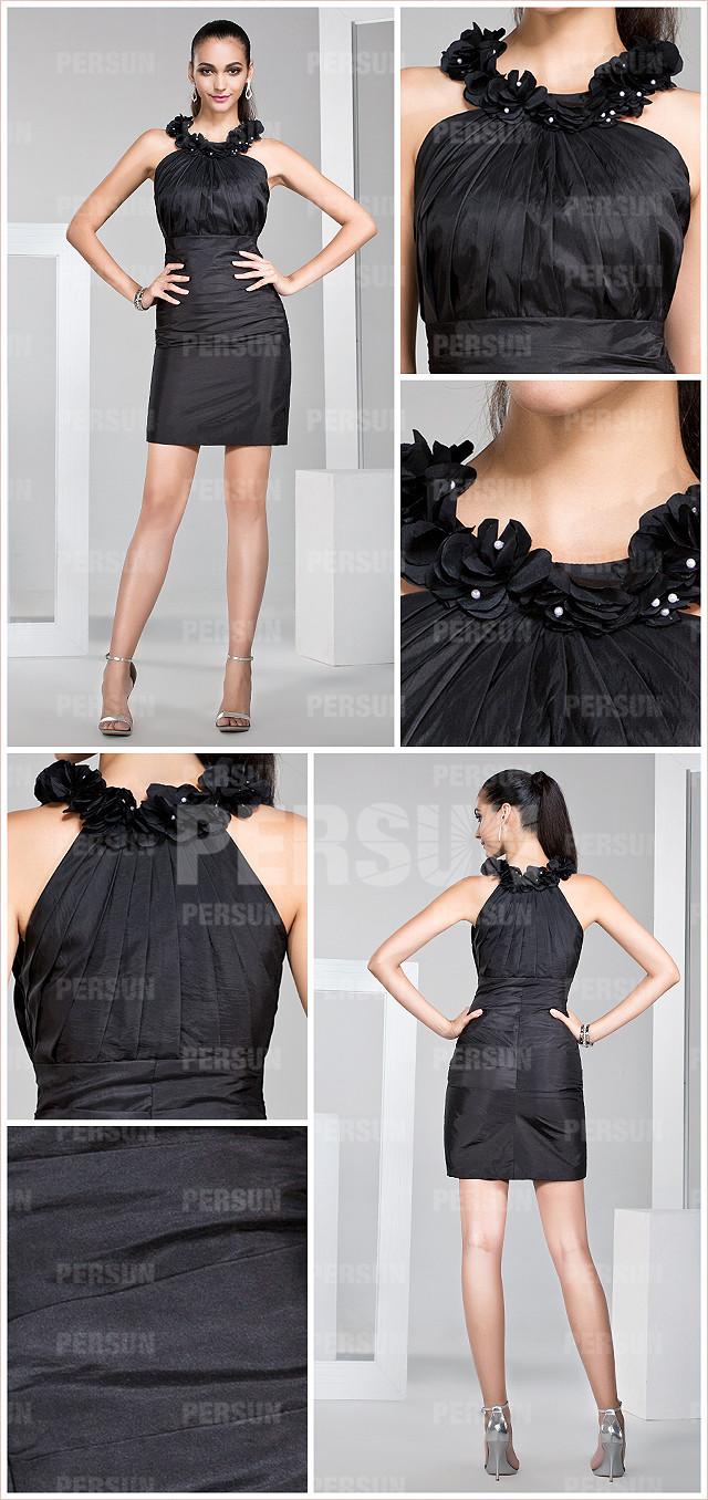 chic robe noire moulante cocktail avec fleurs fait main au cou