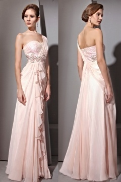 Robe de soirée longue rose pâle asymétrique ornée de strass sequin