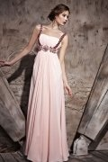 Ruched Beading Straps Tencel A line Formal Evening Dress