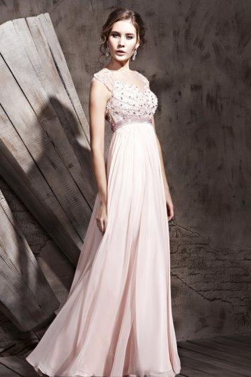 Robe de soirée rose pâle à paillettes encolure illusion expédié en 24h