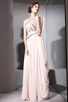 Robe de soirée en Tencel rose à A-ligne ruchée sans bretelle
