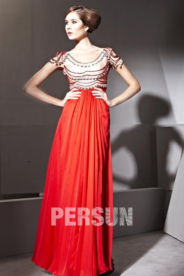 Robe de soirée en Tencel rouge à A-ligne à encolure ovale ornée de strass