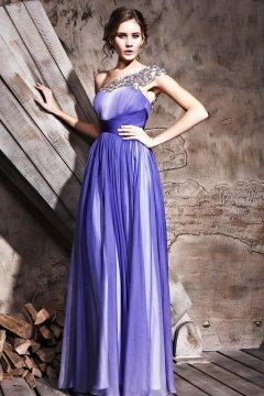 Robe de soirée longue élégante violette asymétrique Ligne A ornée de strass de couleur en dégradation