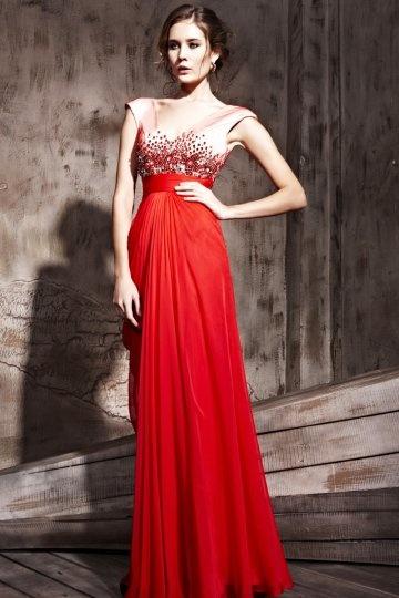 Robe de soirée rouge ornée de strass décolletée en V expédié en 24h