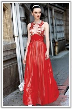 Robe de soirée vintage en Mousseline brodée rouge à A-ligne à encolure ronde