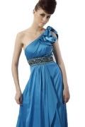 Robe de soirée bleue empire ornée de strass à A-ligne à seule épaule