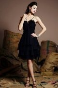 Tiers Spaghetti Chiffon Black A line Knee Length Prom Dress