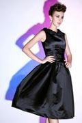 Petite robe noire à jupe bouffante encolure fleurie