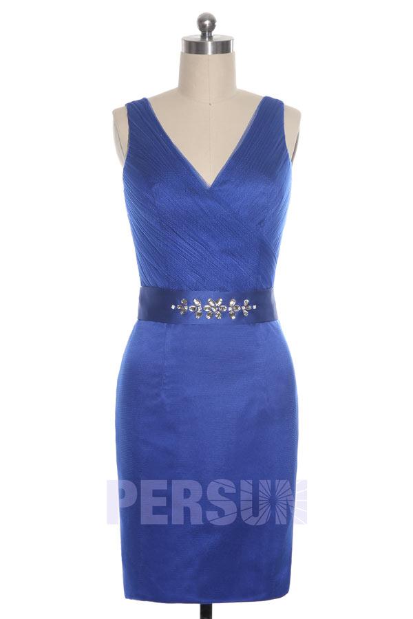Elegante Robe courte de cocktail bleu roi court au genou strass sur la ceinture