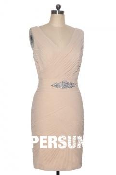 Robe de gala totalement ruché courte au genou couleur champagne