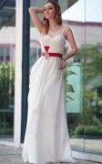 Crystal Brooch Belt Spaghetti Straps Tencel White School Formal Dress