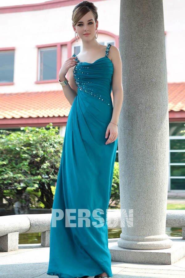 robe demoiselle d'honneur tuquoise longue avec bretelle plissé et strassé