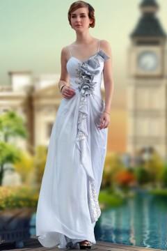 Robe de gala longue grise orné de paillettes & fleurs