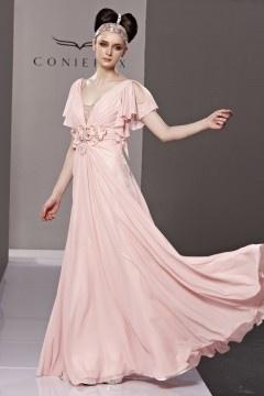 Robe de soirée rose pâle col v profond chic avec mancherons en mousseline