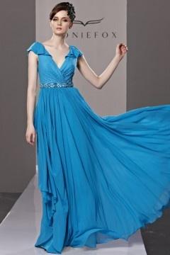 Robe de soirée longue bleu col v cache coeur avec mancherons