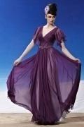 Beading Ruching Ruffles V neck Tencel Grape Evening Dress