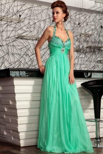 Provence robe de soirée col américain menthe en tencel expédié en 24h