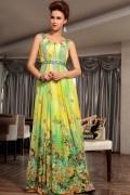 Robe verte longue imprimée pour soirée