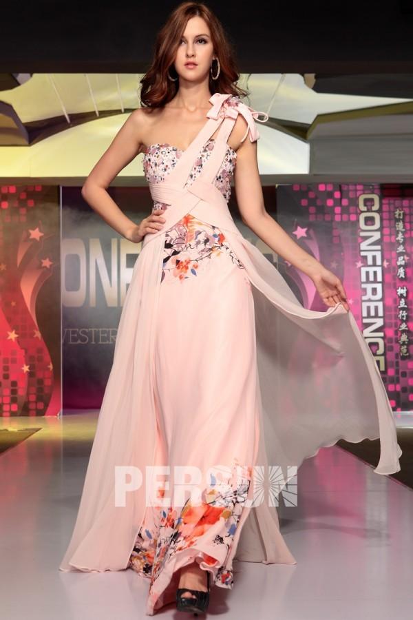 Provence robe de soirée imprimé strass rose en mousseline de soie