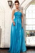 Provence robe de soirée strass bleu en tencel