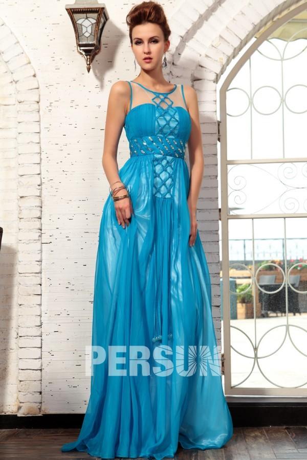 Provence robe de soirée strass bleu en tencel expédié en 24h