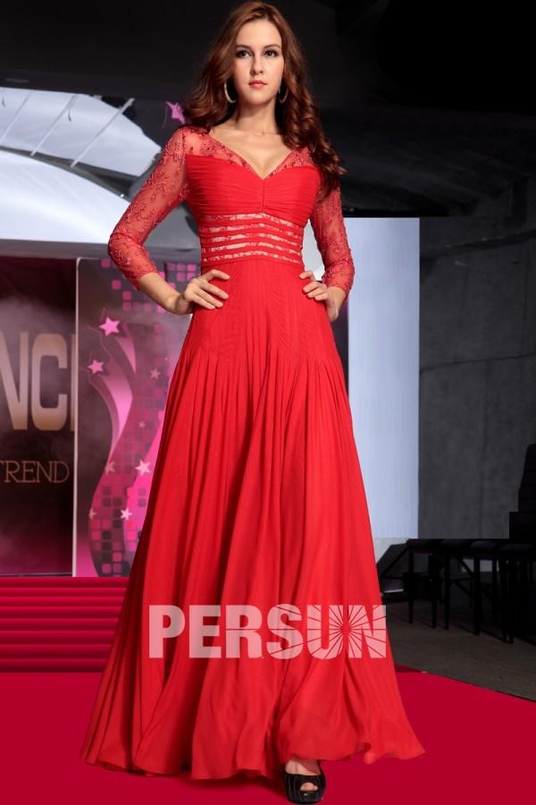 Provence robe de soirée élegante rouge en mousseline de soie expédié en 24h