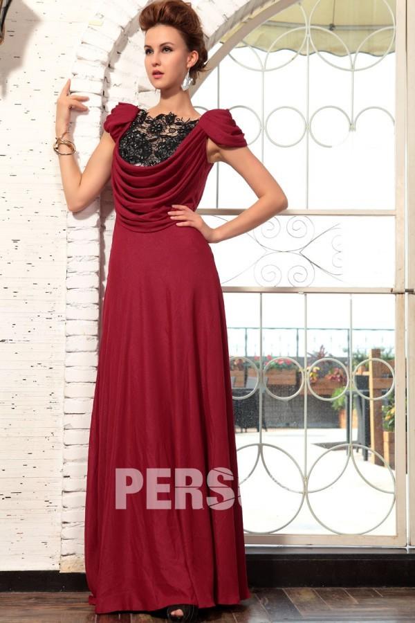 Robe rouge foncé dentelle ornée de strass drapée à mancherons ... b13ae053c762