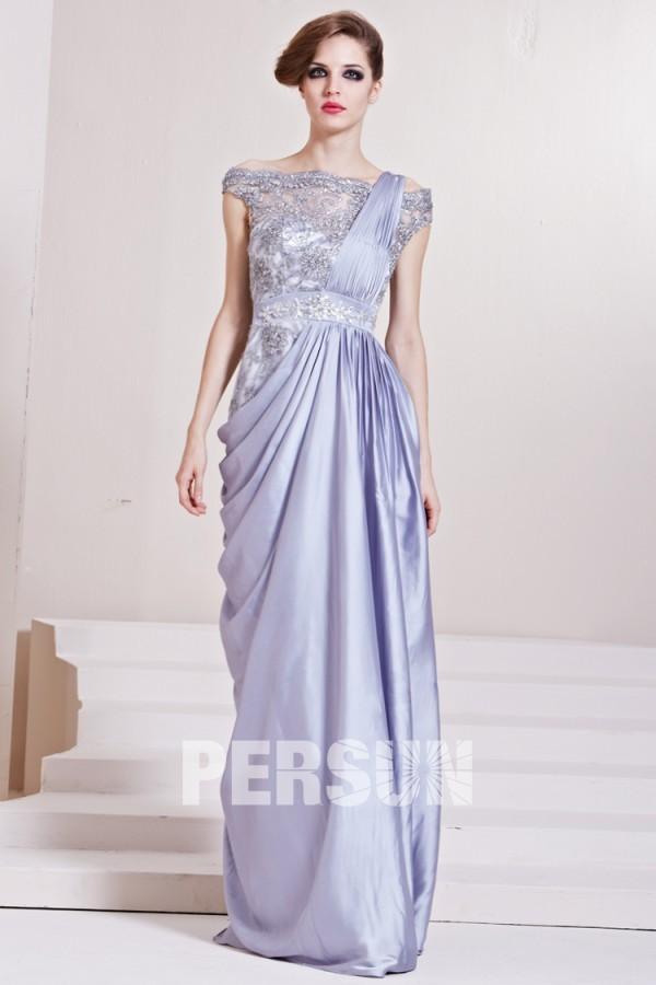 Robe grise drapée dentelle ornée de bijoux satin soyeux – Persun.fr fe1d6582aab8