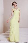 A Linie V Ausschnitt Empire Falten flechtendes bodenlanges Abendkleid aus Chiffon