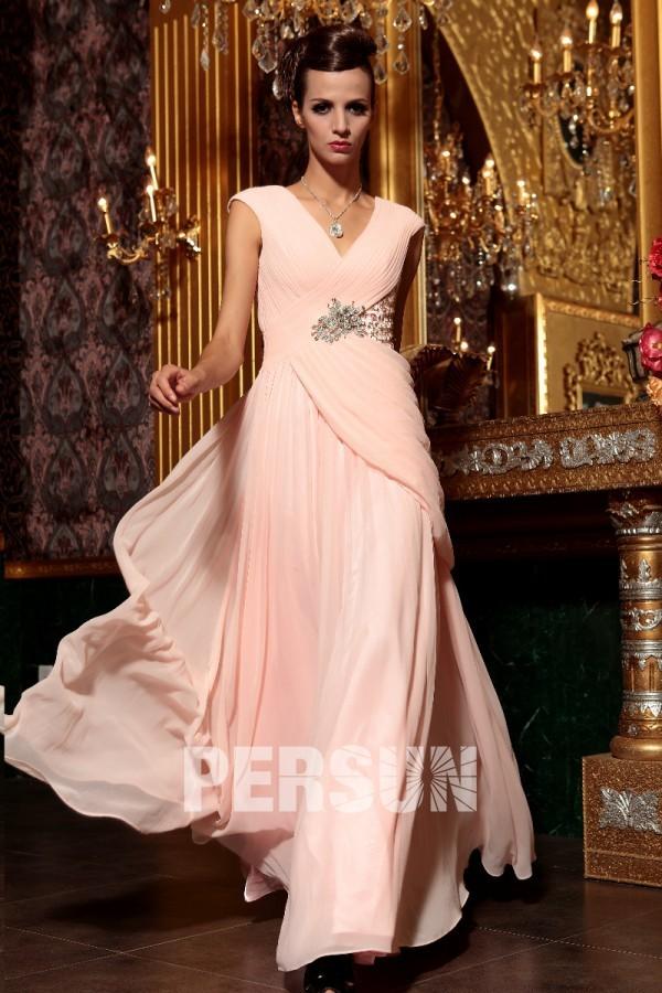 Robe rose de soirée bijoux perles en mousseline empire