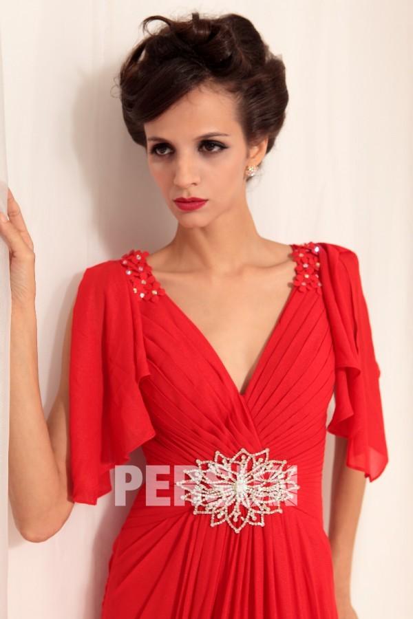 robe soirée rouge col v avec mancherons à volants