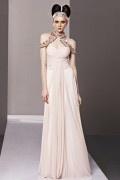 Elegantes A Linie Empire Perlen verziertes Pelerine Stehkragen Abendkleid aus Chiffon