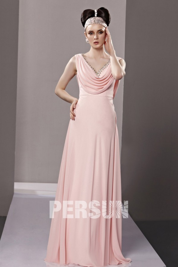 robe longue rose poudré simple de cocktail mariage