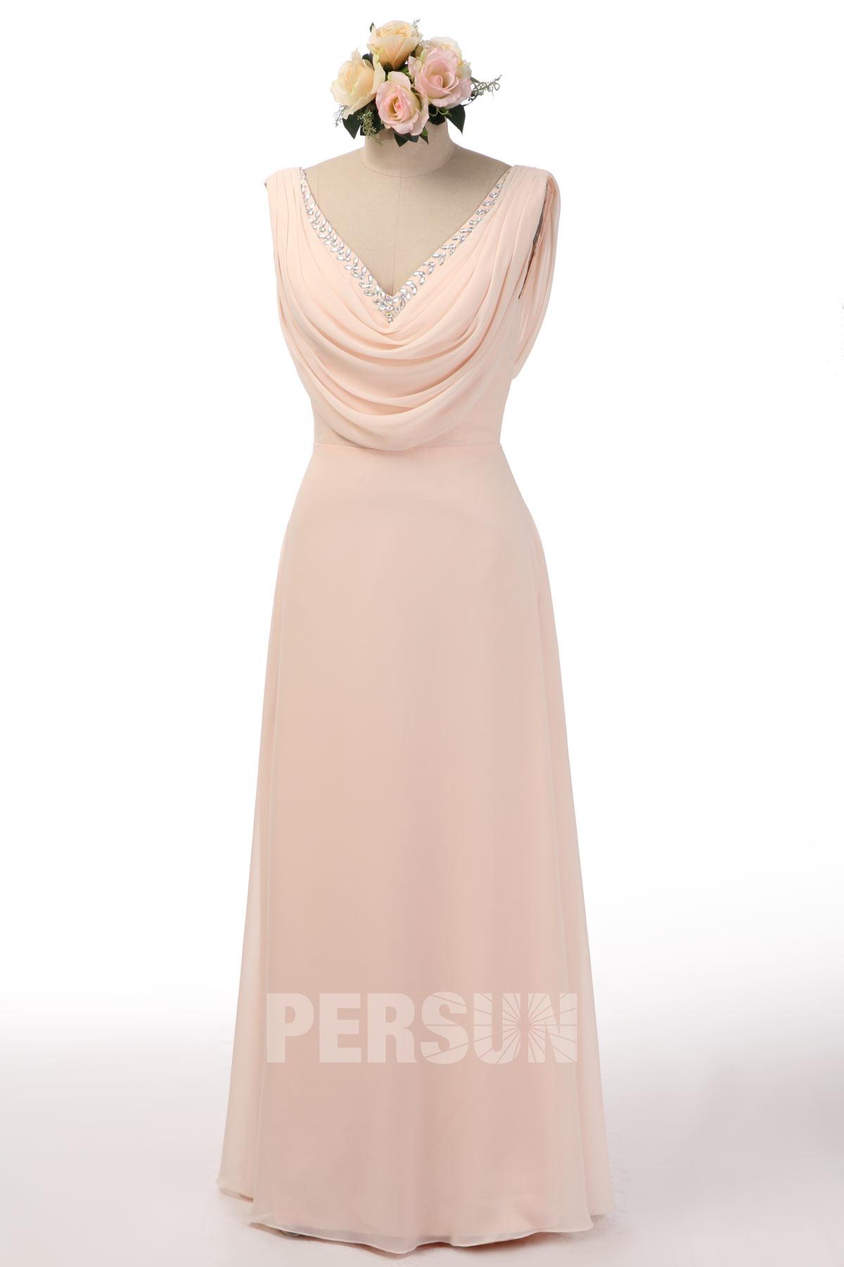 robe de soirée nude longue col v plissé embelli de strass